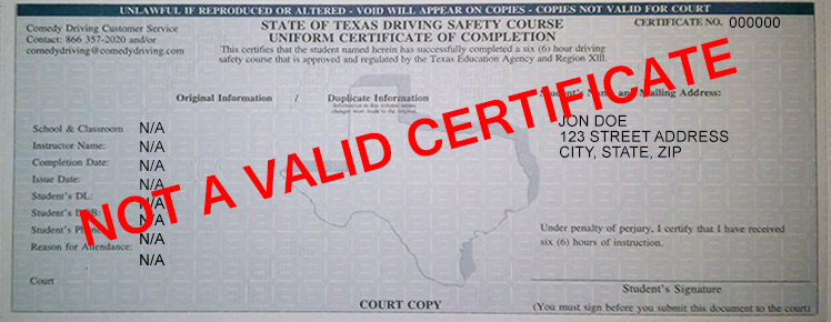 picture regarding Defensive Driving Course Online Texas Printable Certificate titled Defensive Behind Certification - Comedy Behind